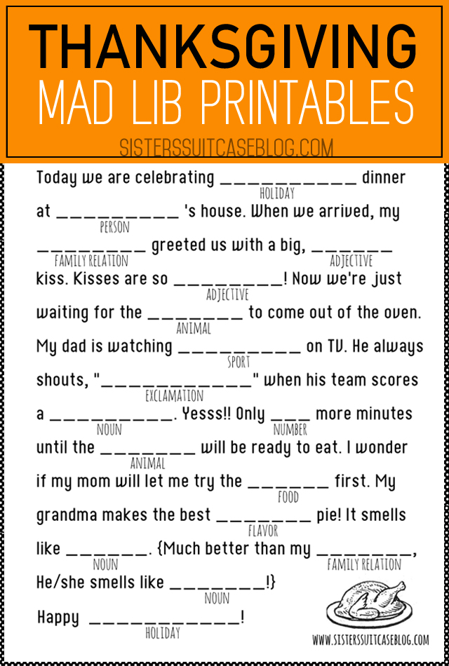 picture regarding Printable Mad Libs Sheets for Adults titled Thanksgiving Crazy Libs Printable - My Sisters Suitcase