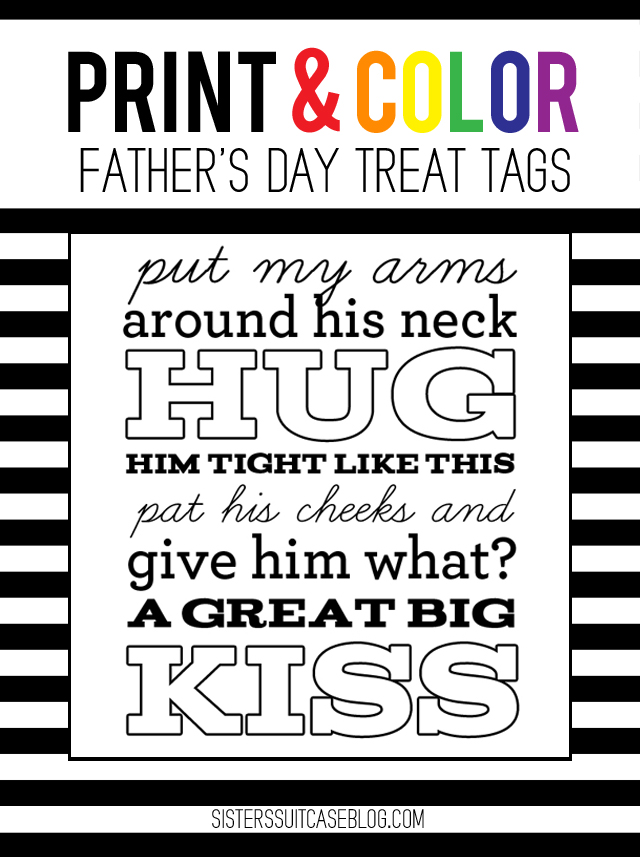 Fathers Day treat tags print and color