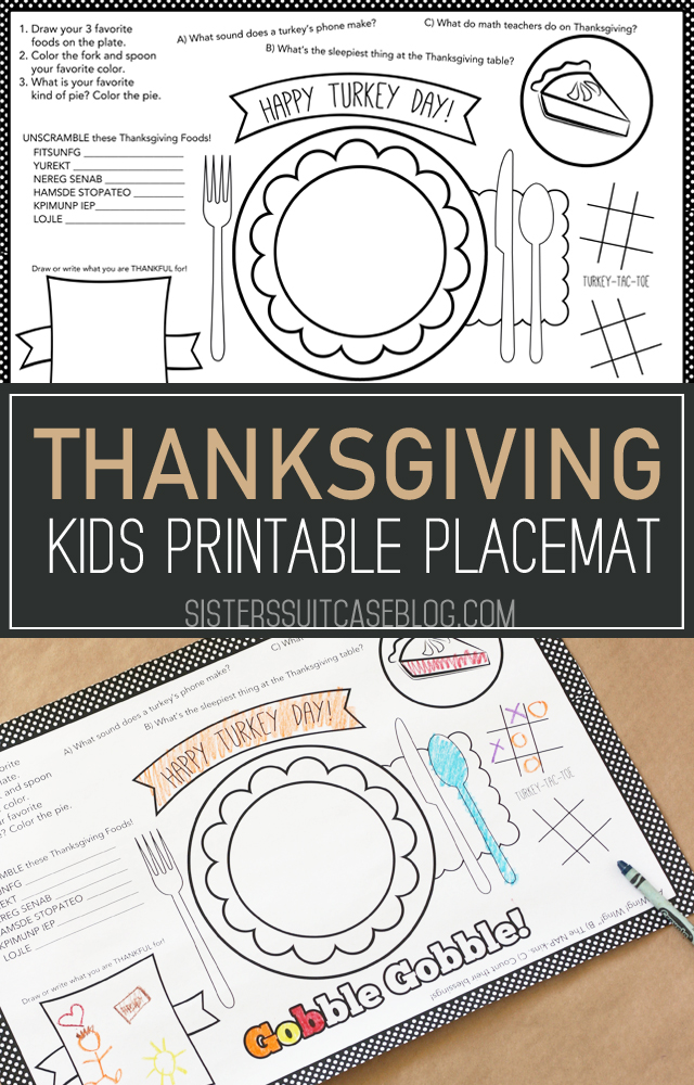 Thanksgiving Kids Printable placemat