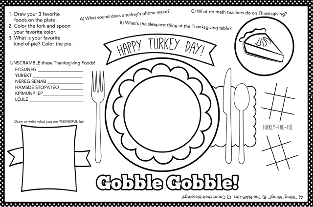 photo relating to Thanksgiving Placemats Printable named Children Thanksgiving Placemat + 12 Cost-free Thanksgiving Printables