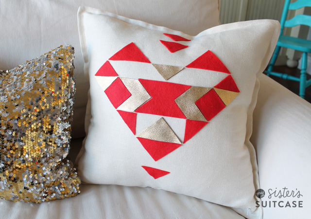 Aztec Heart Pillow - My Sister's Suitcase - Packed with Creativity