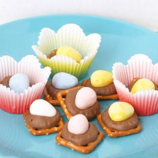 Cadbury Mini Egg Pretzel Rolo Treats