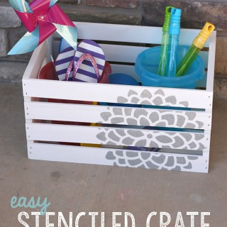 DIY Stenciled Crate for Spring
