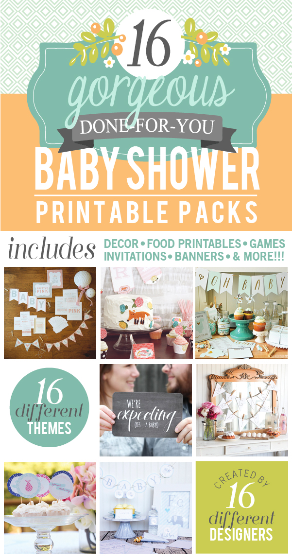 Baby shower printable pack bundle my sister 39 s suitcase for Baby shower decoration packs