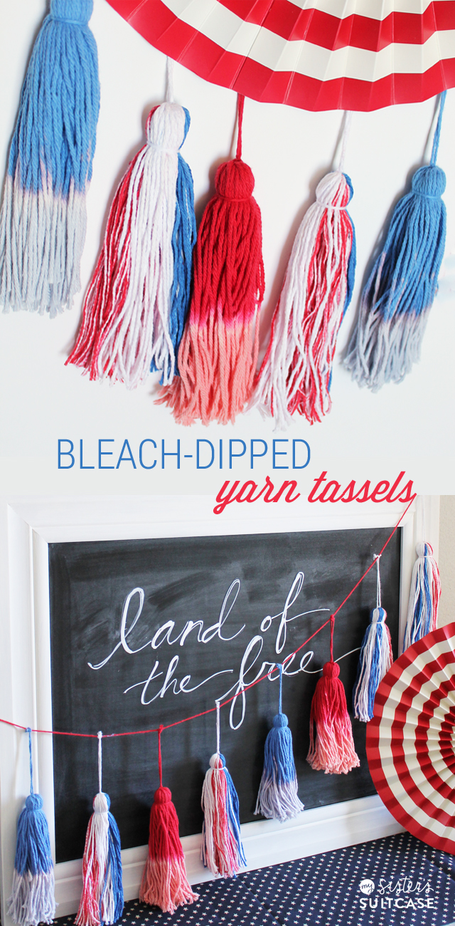 bleach dipped yarn tassels