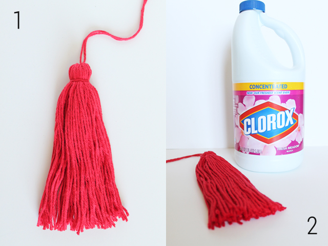 how to bleach yarn tassels