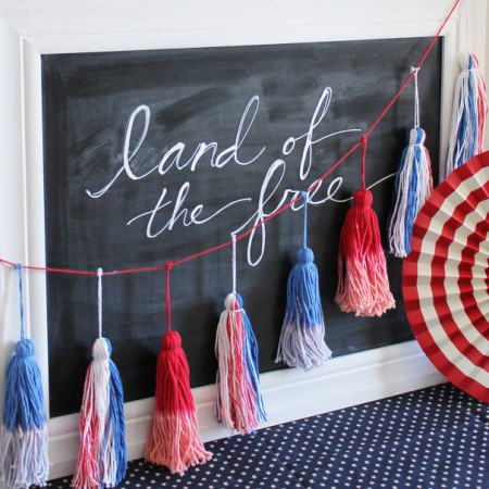 red white and blue tassels