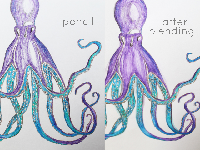 before and after watercolor pencil technique
