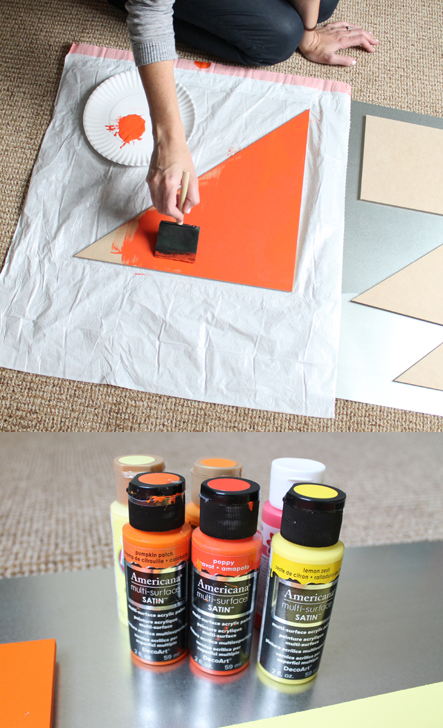 painting the wooden shapes
