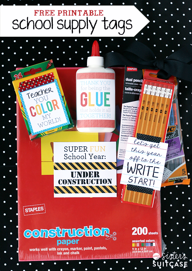 Free Printable school supply tags for Teachers!