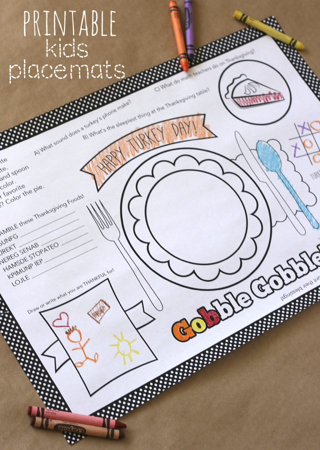 Kids Thanksgiving Placemat + 12 FREE Thanksgiving Printables - My ...