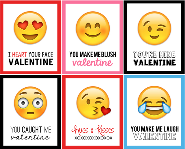 image about Printable Emoticons Free identified as Emoji Valentines