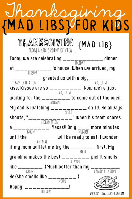 Thanksgiving Mad Libs Printable - My Sister's Suitcase - Packed ...