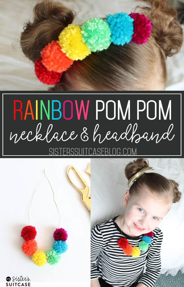 Rainbow pom pom neckace and headband