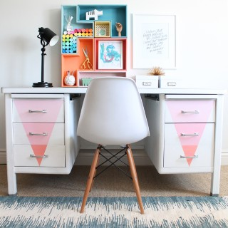 Desk Makeover with Chalky Finish Paint