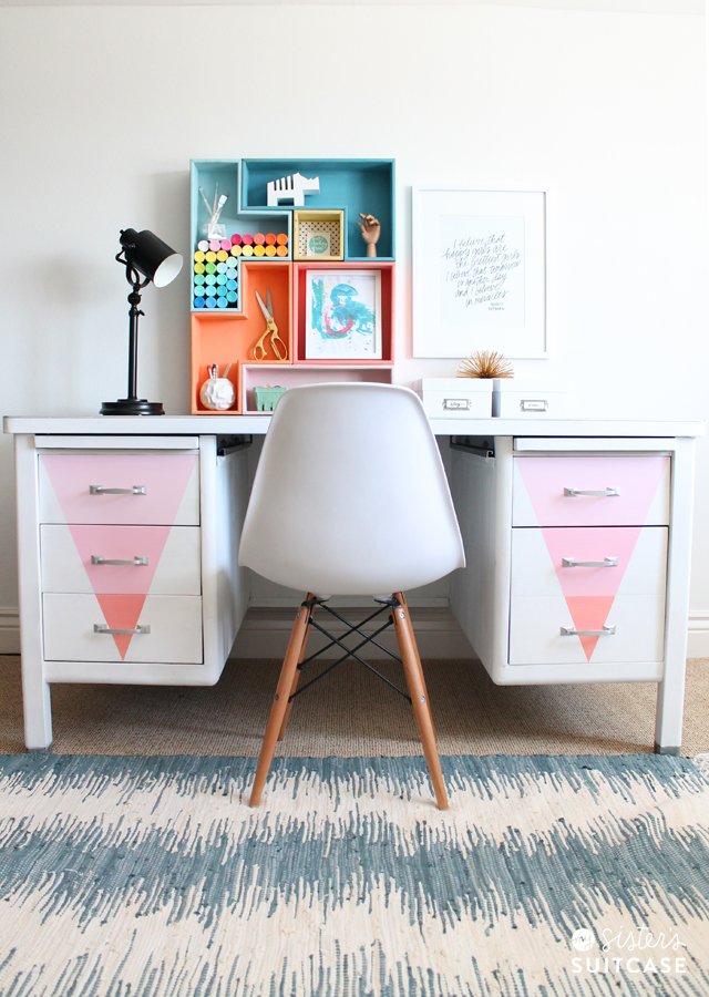 Chalky Finish Paint desk makeover
