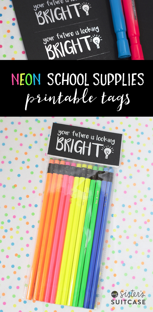 Neon School Supply tags