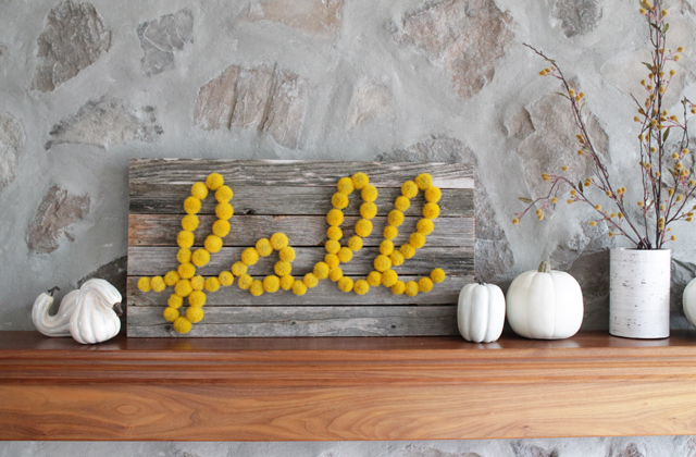 fall sign and mantel