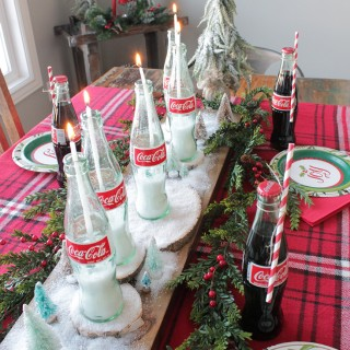 candles in coke bottles tablescape