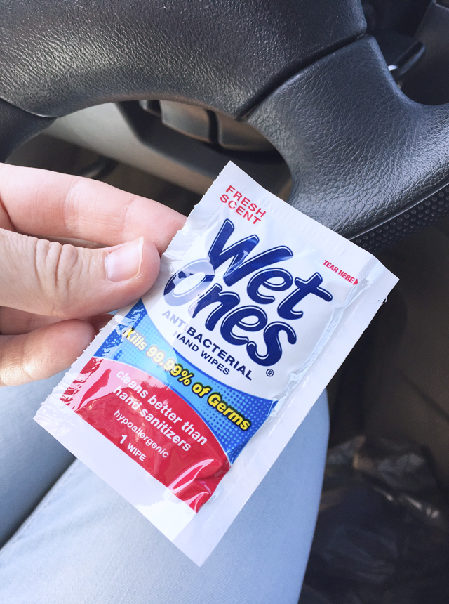 Wet Wipes singles in the car