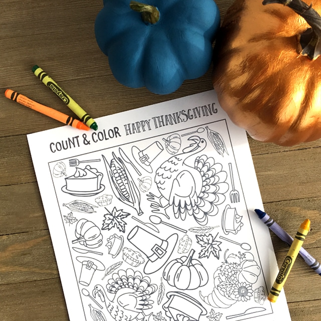Count and Color Thanksgiving Printable for kids