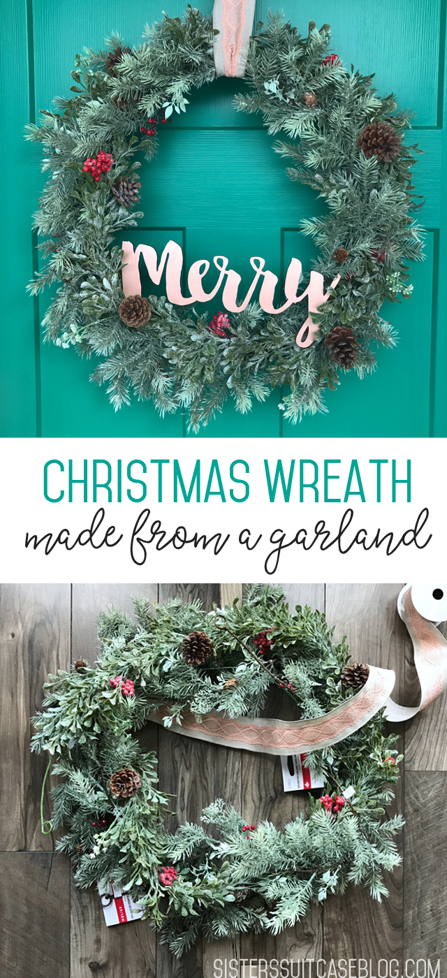 Christmas wreath hack from a garland