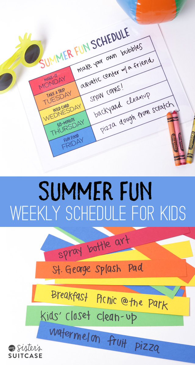 Summer Schedule printable for kids