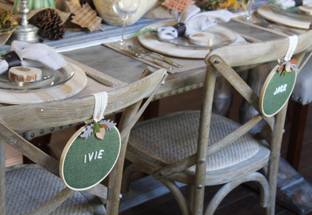 Chairs with embroidery hoop name settings