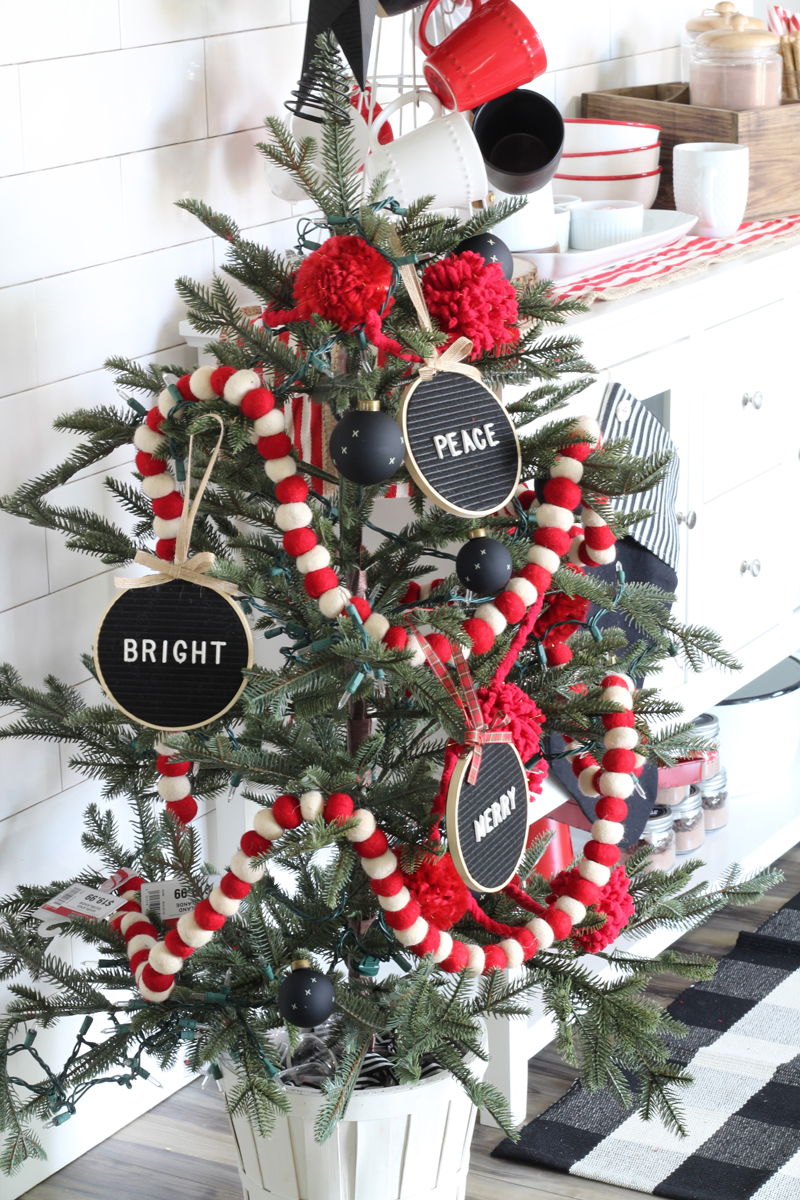 Christmas tree with letter board ornaments
