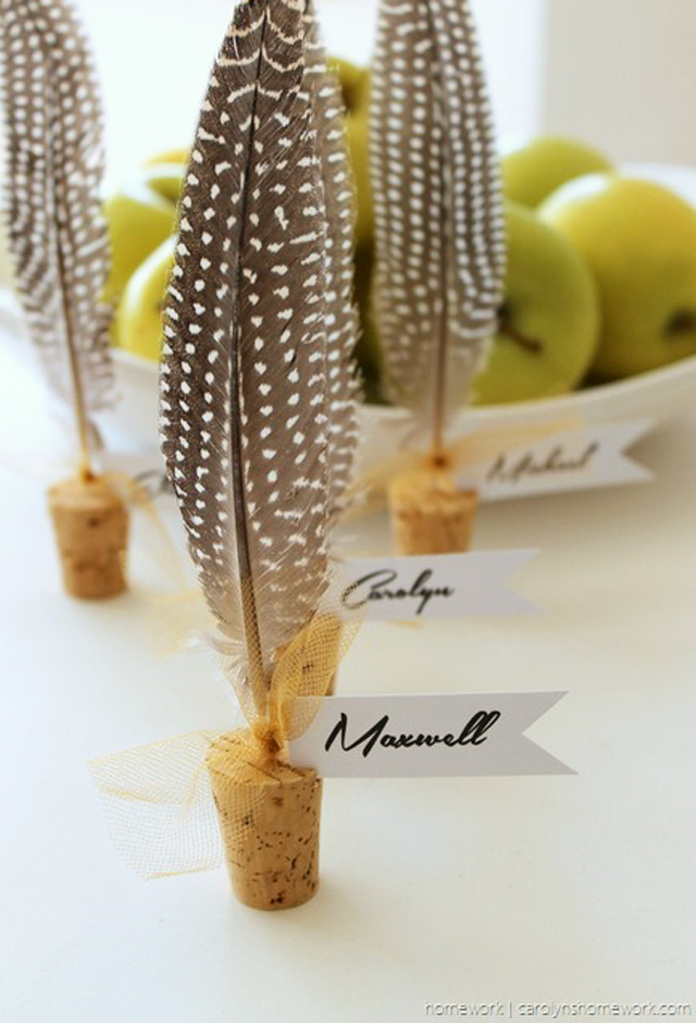 Cork & Feather Place Cards
