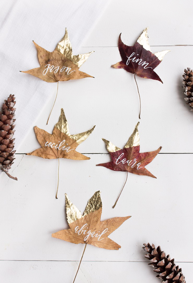 DIY-Thanksgiving-place-card-Gold-leaves