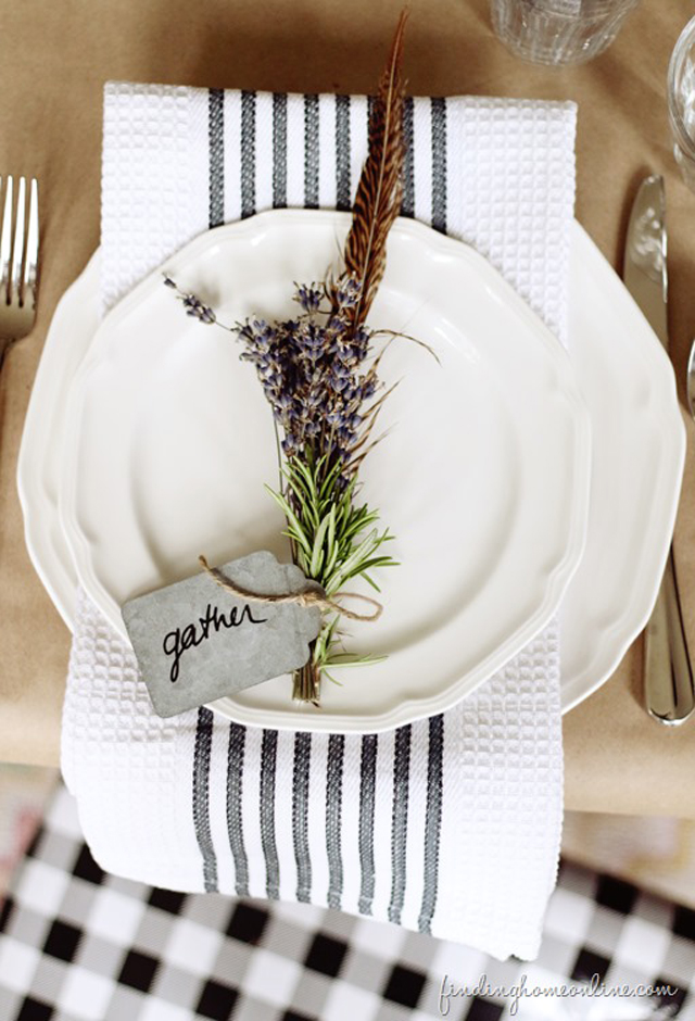 Fall place setting with dish towel