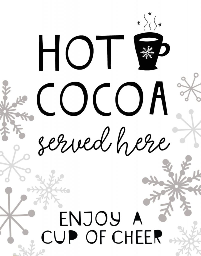 Hot Cocoa Sign Printable
