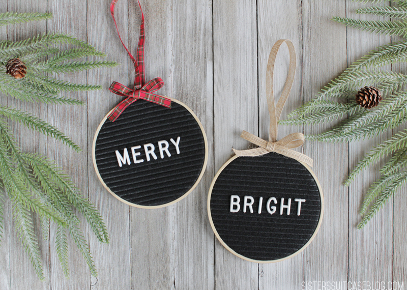 Merry and Bright letterboard ornaments