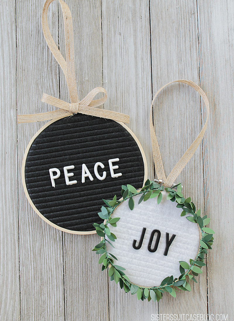 Peace and Joy letterboard ornaments