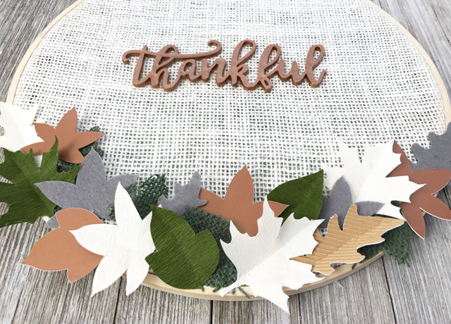 Thankful cream burlap hoop