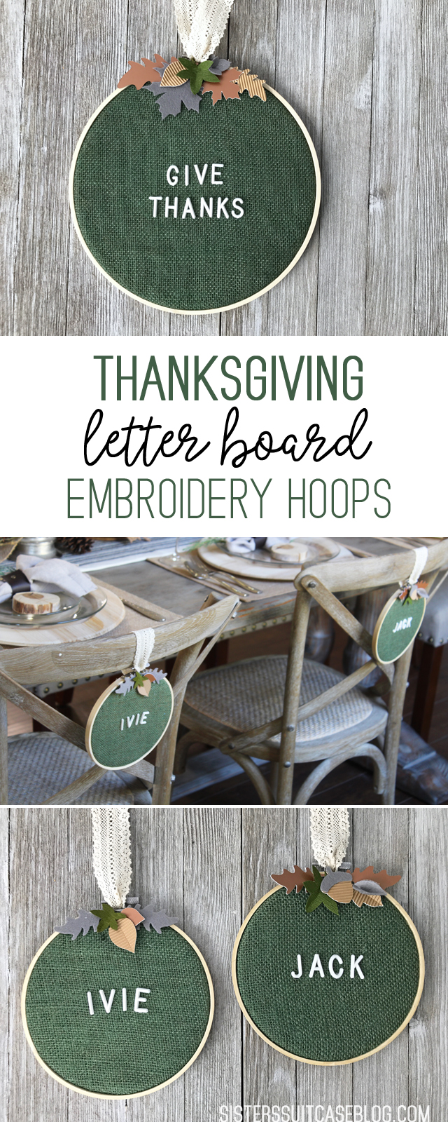 Thanksgiving Letter Board Embroidery Hoops