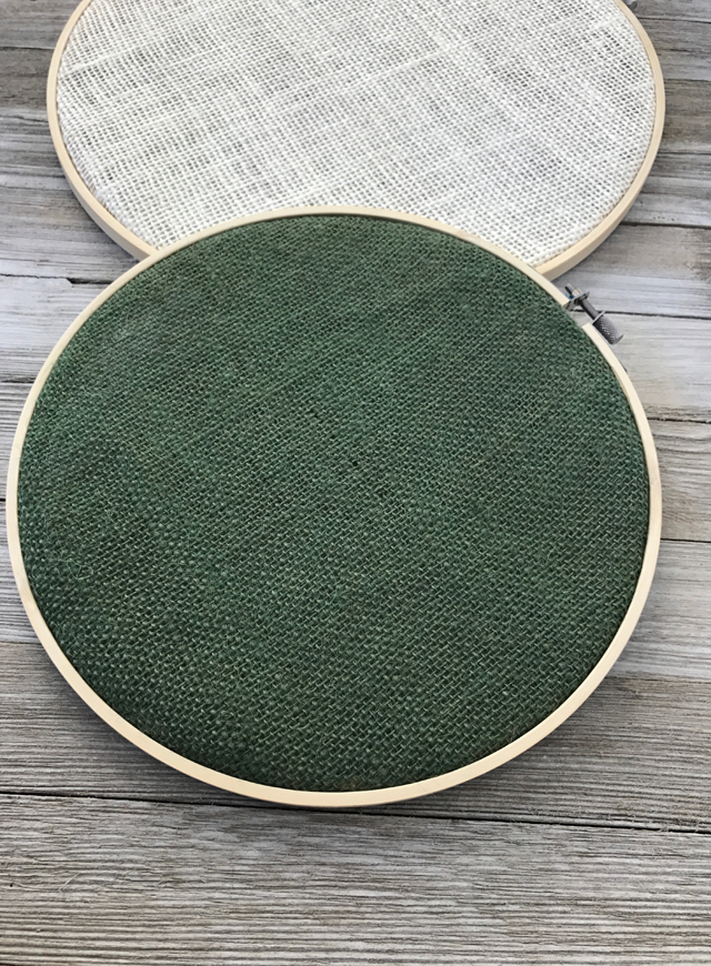 burlap embroidery hoops
