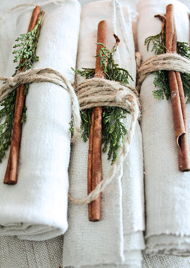 cinnamon sticks and greenery