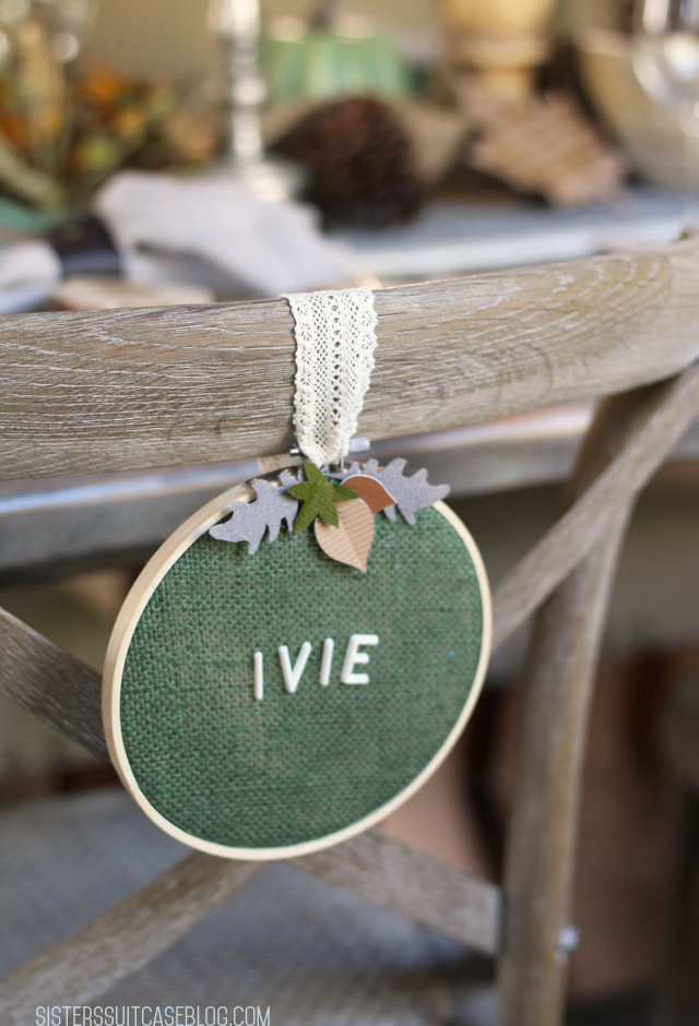 embroidery hoop place setting