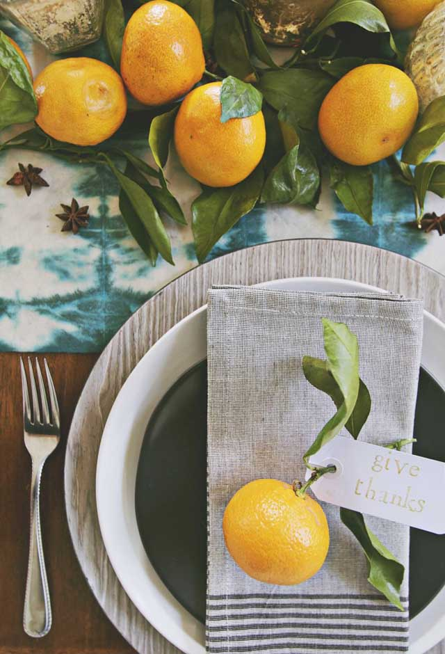 fresh citrus thanksgiving table