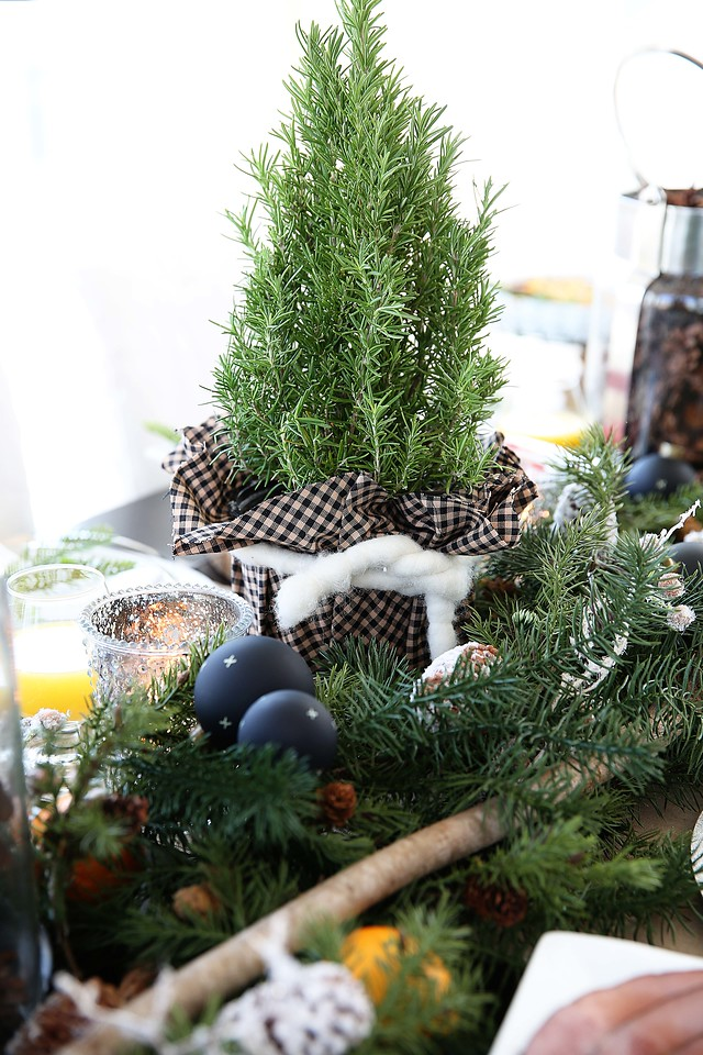 Rosemary tree centerpiece