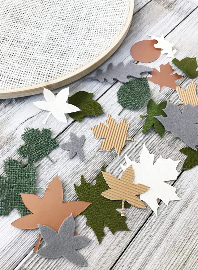 leaves cut from Cricut