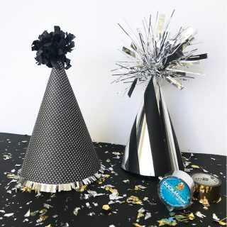Mirror party hats with Duck Tape