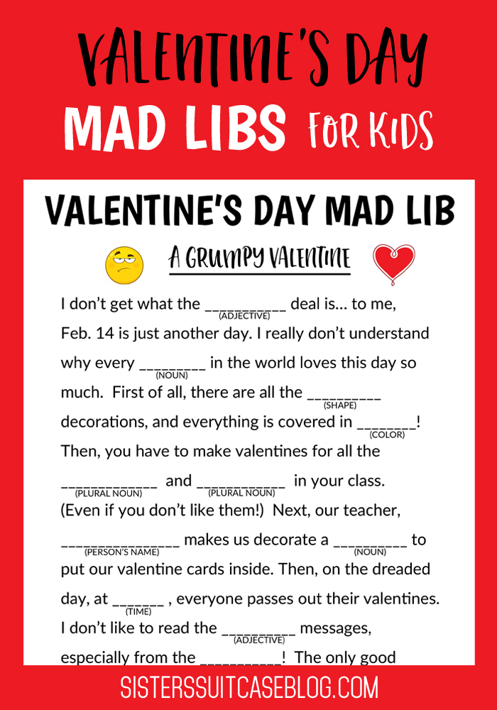 graphic relating to Free Printable Mad Libs for Middle School Students identified as Valentines Working day Insane Libs for Small children