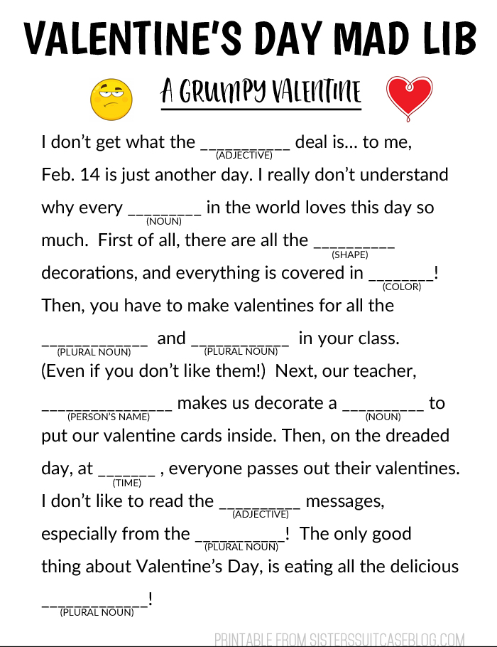 Valentine S Day Mad Libs My Sister S Suitcase Packed With Creativity