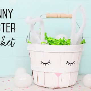 Make a bunny basket for Easter from an apple basket