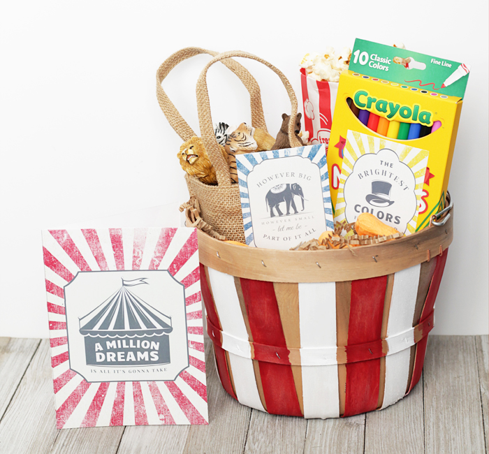 Greatest Showman Easter Basket with free printable tags