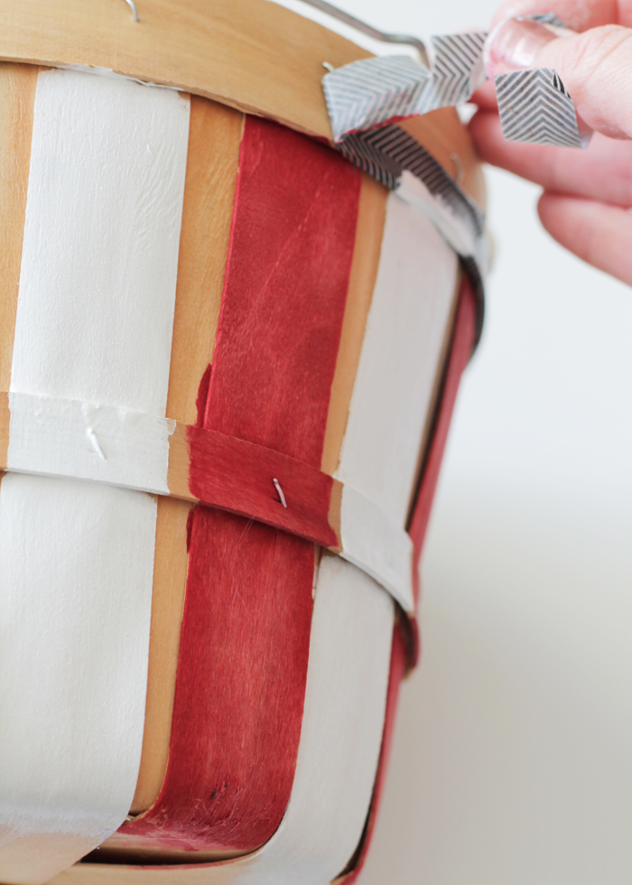 Tape off basket to paint stripes