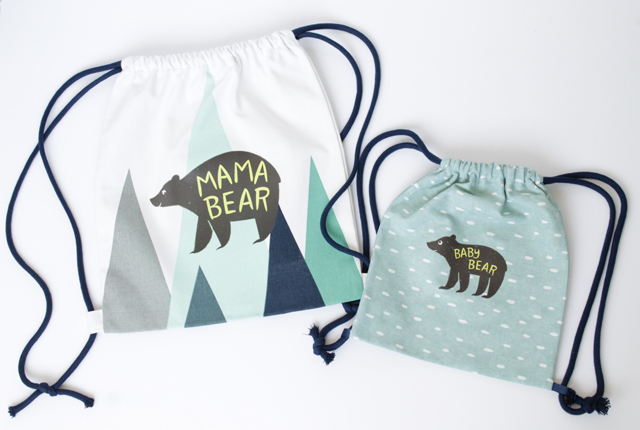 Mama and Baby Bear Iron-On Designs backpacks